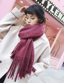 Fashion Claret Red Pure Color Design Long Tassel Scarf
