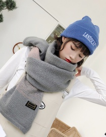 Fashion Gray Label Decorated Thicken Long Scarf