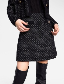 Fashion Black Grid Pattern Decorated Knitted Skirt