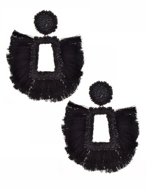 Fashion Black Tassel Decorated Hollow Out Earrings