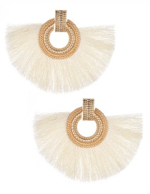 Fashion White Round Shape Decorated Tassel Earrings