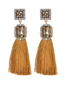Fashion Yellow Square Shape Diamond Design Tassel Earrings