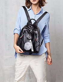 Trendy Black Fuzzy Ball Decorated Backpack With Pendant