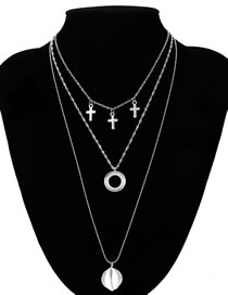 Fashion Silver Color Multi-layer Design Cross Shape Necklace