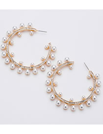 Fashion Gold Color Round Shape Decorated Pearl Earrings