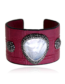 Fashion Claret Red Diamond Decorated Opening Bracelet