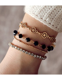 Fashion Gold Color Diamond Decorated Bracelets(4pcs)