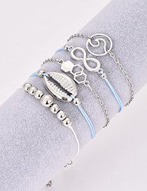 Fashion Silver Color Shell&beads Decorated Bracelet(5pcs)