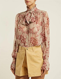 Fashion Pink Flower Pattern Decorated Shirt