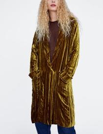 Fashion Gold Color Pure Color Decorated Coat