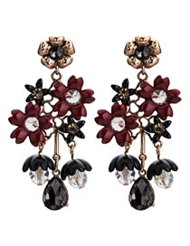 Fashion Claret Red Flower Shape Decorated Earrings