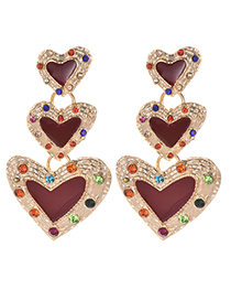 Fashion Claret Red Heart Shape Decorated Earrings