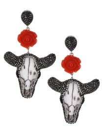 Fashion Black+red Cow Head Shape Decorated Earrings