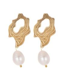Fashion Gold Color Irregular Shape Decorated Earrings