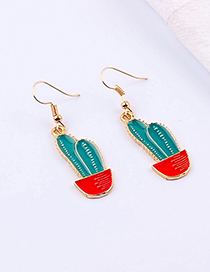 Fashion Blue+red Cactus Shape Decorated Earrings