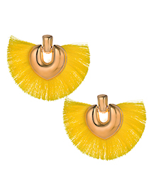 Fashion Yellow Heart Shape Decorated Tassel Earrings