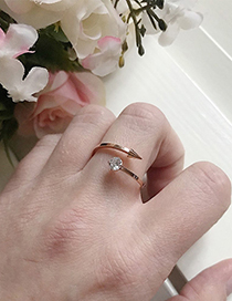 Fashion Rose Gold Diamond Decorated Opening Ring