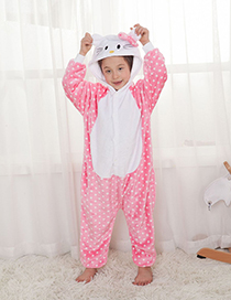 Fashion Pink Cat Shape Decorated Pajamas For Child