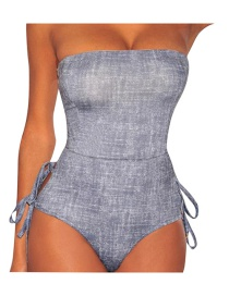 Sexy Gray Off-the-shoulder Deisgn Pure Color Swimwear