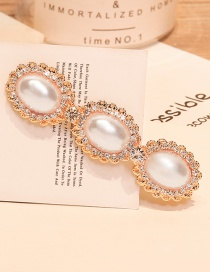 Fashion Gold Color+white Oval Shape Decorated Hair Clip
