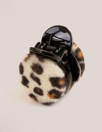 Fashion Beige Leopard Pattern Decorated Round Shape Hair Clip