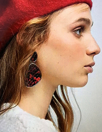 Fashion Red Snake Skin Pattern Decorated Earrings
