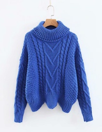 Fashion Sapphire Blue Pure Color Decorated Sweater