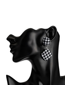 Fashion Black Grid Pattern Decorated Earrings