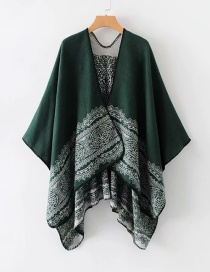 Fashion Olive Green Flower Pattern Decorated Shawl
