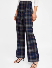 Fashion Navy Grid Pattern Decorated Trousers
