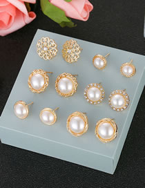 Fashion Gold Color+white Pearl Decorated Earrings