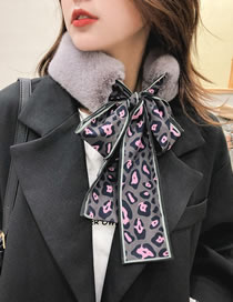 Fashion Gray+pink Leopard Pattern Decorated Dual-use Scarf