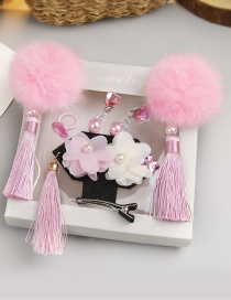 Fashion Pink Flower Shape Decorated Hair Clip (6 Pcs )