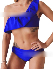 Sexy Sapphire Blue Pure Color Design One-shoulder Bikini