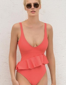 Sexy Pink Pure Color Design One-piece Bikini