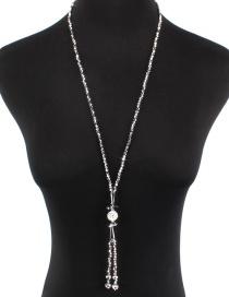 Simple Silver Color Diamond Decorated Necklace