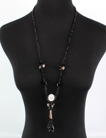 Fashion Black Diamond&bead Decorated Necklace