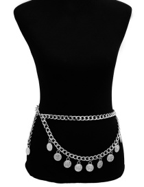 Fashion Silver Color Pure Color Decorated Waist Chain