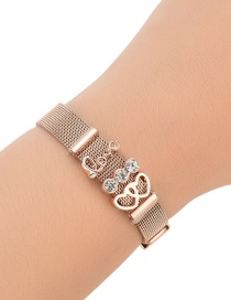 Fashion Rose Gold Double Heart Shape Decorated Pure Color Bracelet