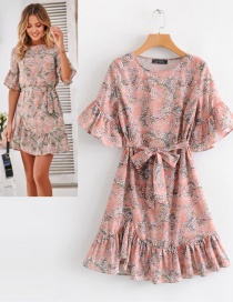 Fashion Pink Flowers Pattern Decorated Dress