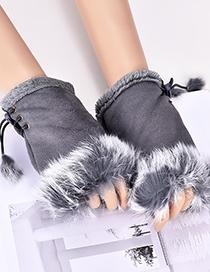 Fashion Dark Gray Pure Color Design Drawstring Gloves