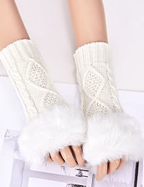 Fashion Beige Rhombus Shape Pattern Design Gloves