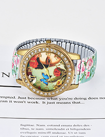 Fashion Pale Green Butterfly&flowers Pattern Decorated Watch