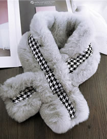 Fashion Gray Grid Pattern Decorated Thicken Scarf
