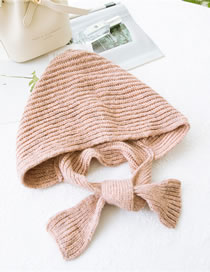 Fashion Pink Pure Color Design Knitted Scarf