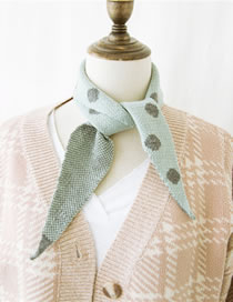 Fashion Pale Green Dots Pattern Design Knitted Scarf