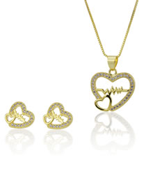 Elegant Gold Color Hollow Out Heart Shape Design Jewelry Sets