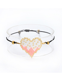 Fashion Pink Heart Shape Design Hand-woven Bracelet