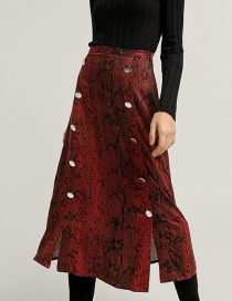 Fashion Red Snake Pattern Decorated Skirt