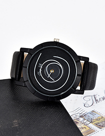 Fashion Black Round Shape Dial Design Simple Watch